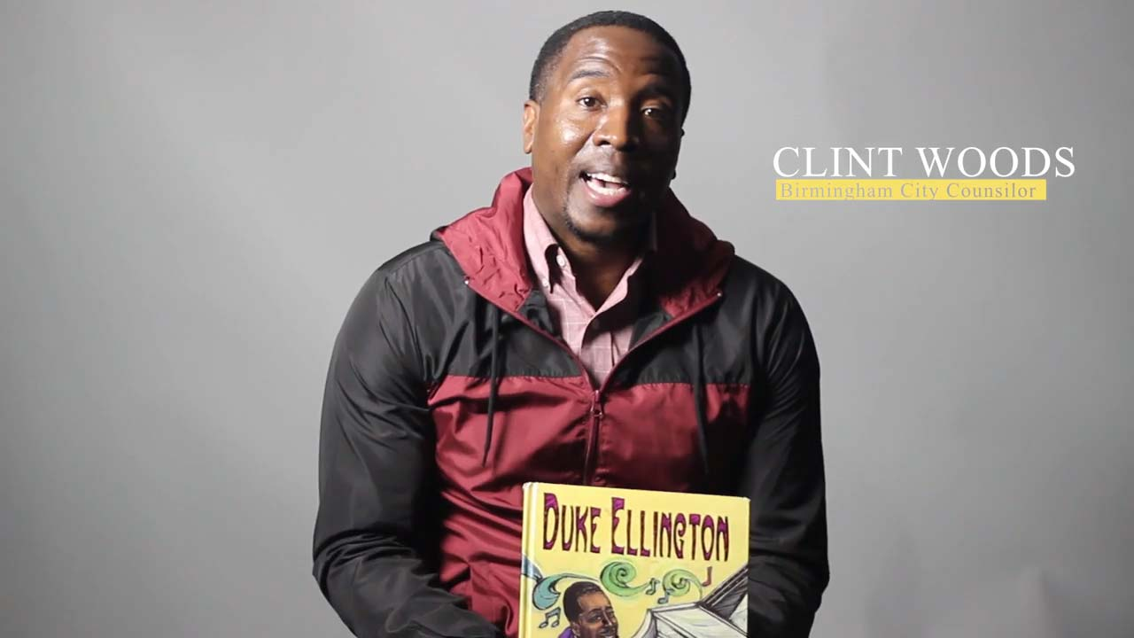 "Councilman Clinton Woods reads  ""Duke Ellington:  The Piano Prince""  by Andrea Pinkney"